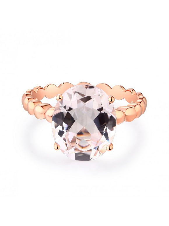 3.30ct Rose Gold, Oval Cut Morganite Engagement Ring, Available in 14kt or 18kt Rose, Yellow or White Gold