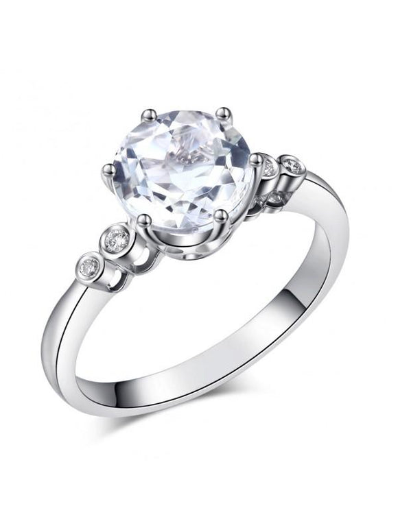 2.00ct White Topaz and Diamond Enagagement Ring, Vintage Inspired, Available in 14kt or 18Kt White, Yellow or Rose Gold