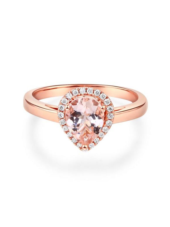 1.20ct Rose Gold, Pear Cut Morganite Engagement Ring, Available in 14kt or 18kt Rose, Yellow or White Gold