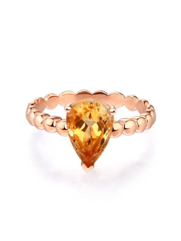 1.60ct Pear Cut Citrine Engagement Ring, Available in 14kt or 18kt Rose, Yellow or White Gold