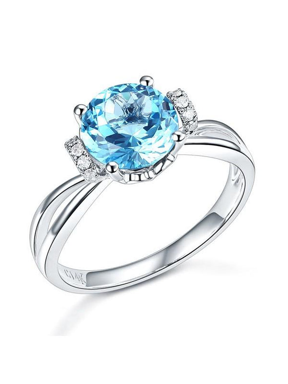2.00ct Round Cut Blue Topaz Engagement Ring, Available in 14kt or 18kt White, Yellow or Rose Gold