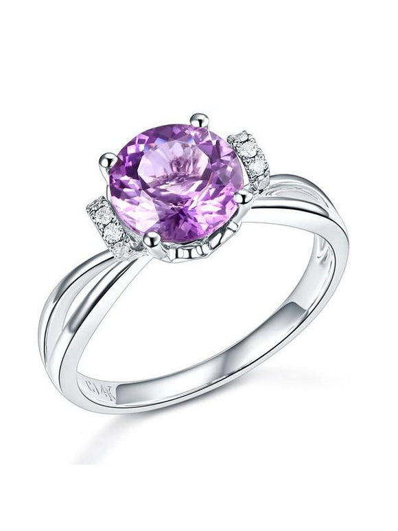 1.80ct Round Cut Amethyst Engagement Ring, Available in 14kt or 18kt White, Yellow or Rose Gold