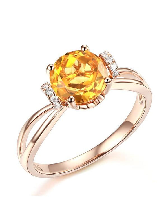 1.80ct Round Cut Citrine Engagement Ring, Available in 14kt or 18kt Rose, Yellow or White Gold