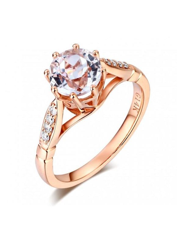 1.20ct Rose Gold, White Topaz Enagagement Ring, Available in 14kt or 18Kt White, Yellow or Rose Gold