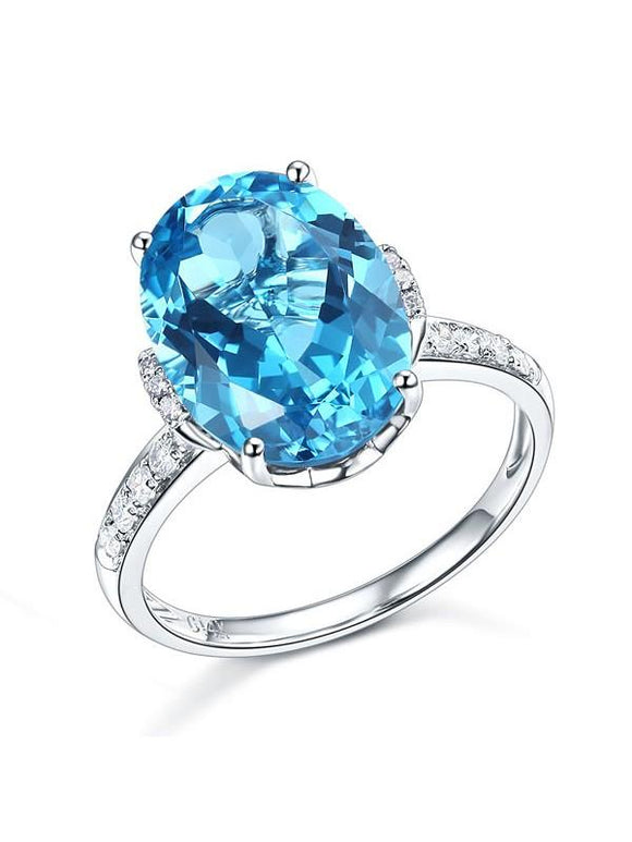 6.50ct Oval Cut Luxury Blue Topaz Dress Ring, Available in 14kt or 18kt White, Yellow or Rose Gold