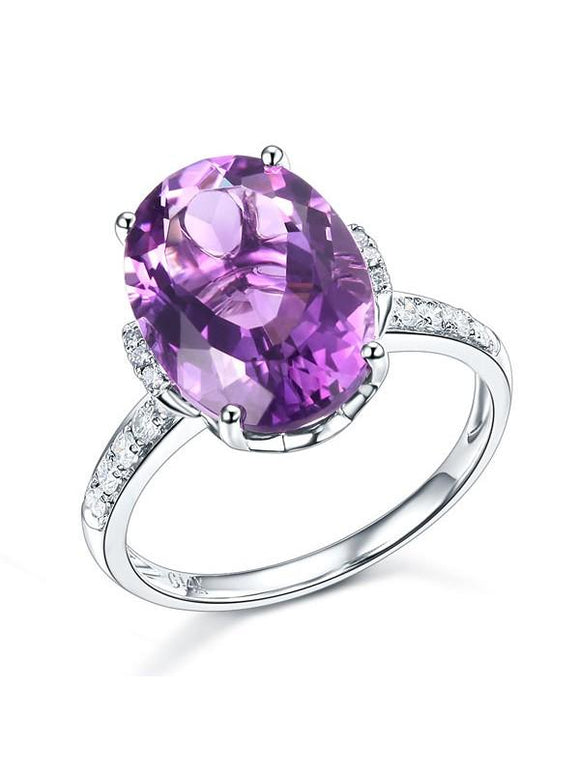 5.75ct Oval Cut Amethyst Engagement Ring, Available in 14kt or 18kt White, Yellow or Rose Gold