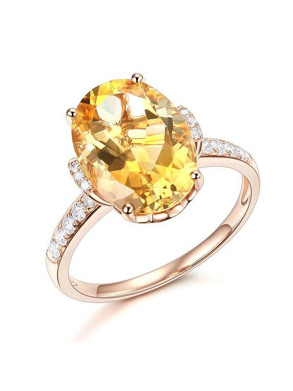 5.20ct Oval Cut Luxury Citrine Dress Ring, Available in 14kt or 18kt Rose, Yellow or White Gold