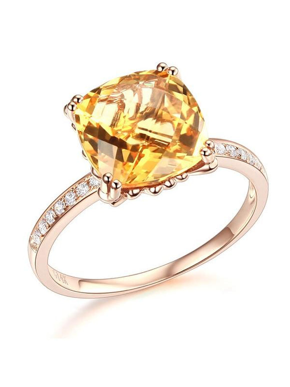 3.60ct Cushion Cut Citrine Engagement Ring, Available in 14kt or 18kt Rose, Yellow or White Gold