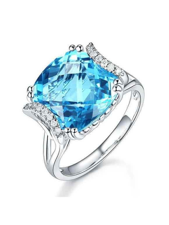 9.60ct Cushion Cut Luxury Blue Topaz Dress Ring, Available in 14kt or 18kt White, Yellow or Rose Gold