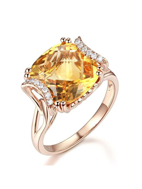 6.00ct Cushion Cut Luxury Citrine Dress Ring, Available in 14kt or 18kt Rose, Yellow or White Gold