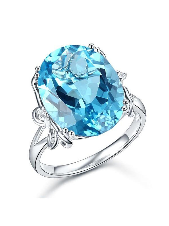 10.30ct Oval Cut Luxury Blue Topaz Dress Ring, Available in 14kt or 18kt White, Yellow or Rose Gold