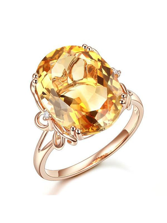 8.20ct Oval Cut Luxury Citrine Dress Ring, Available in 14kt or 18kt Rose, Yellow or White Gold