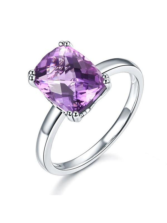 3.20ct Cushion Cut Amethyst Engagement Ring, Available in 14kt or 18kt White, Yellow or Rose Gold