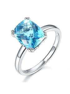 3.90ct Cushion Cut Luxury Blue Topaz Dress Ring, Available in 14kt or 18kt White, Yellow or Rose Gold