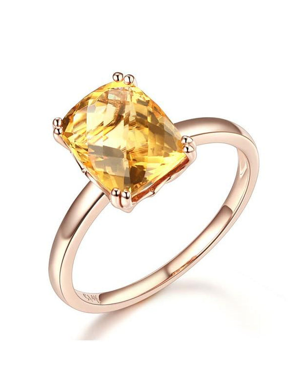 3.10ct Cushion Cut Citrine Engagement Ring, Available in 14kt or 18kt Rose, Yellow or White Gold