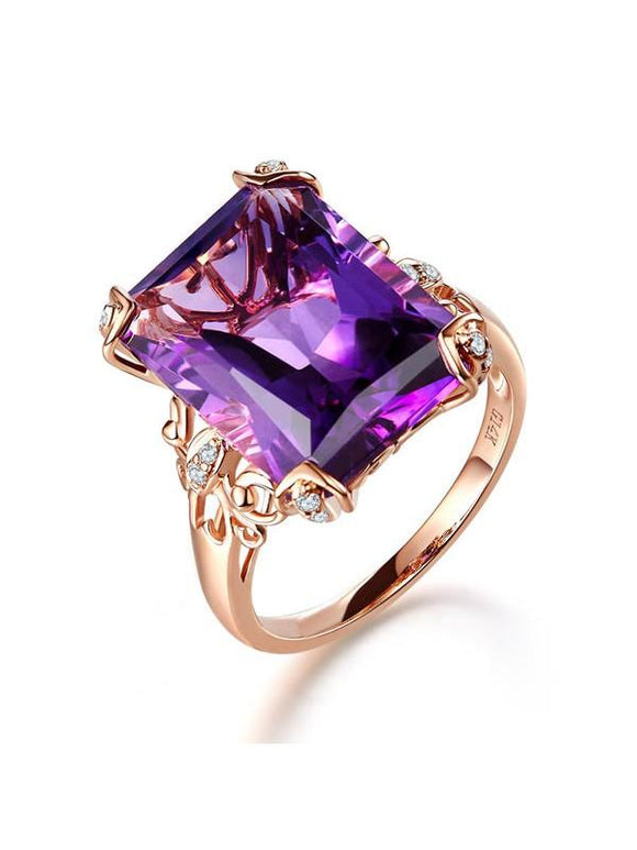 10.50ct Rose Gold, Cushion Cut Luxury Amethyst Dress Ring, Available in 14kt or 18kt Rose, Yellow or White Gold