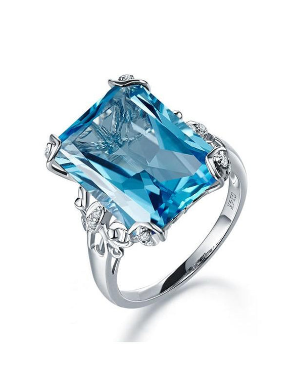 12.70ct Emerald Cut Luxury Blue Topaz Dress Ring, Available in 14kt or 18kt White, Yellow or Rose Gold
