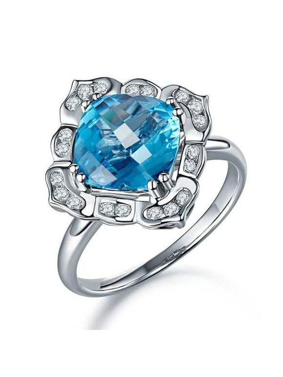 3.00ct Cushion Cut Blue Topaz Engagement Ring, Available in 14kt or 18kt White, Yellow or Rose Gold