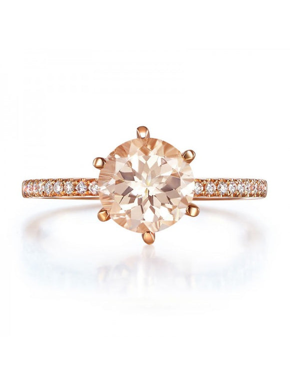 1.20ct Rose Gold, Round Cut Morganite Engagement Ring, Available in 14kt or 18kt Rose, Yellow or White Gold