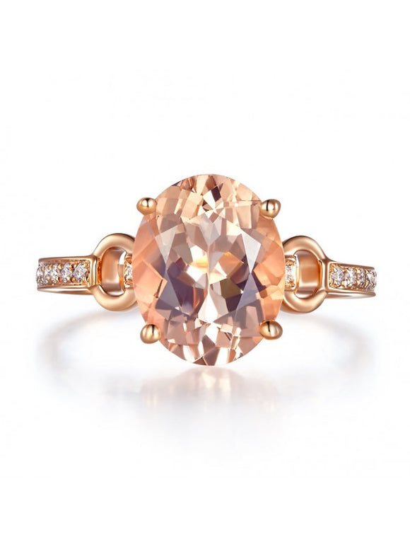 3.50ct Rose Gold, Oval Cut Morganite Engagement Ring, Available in 14kt or 18kt Rose, Yellow or White Gold