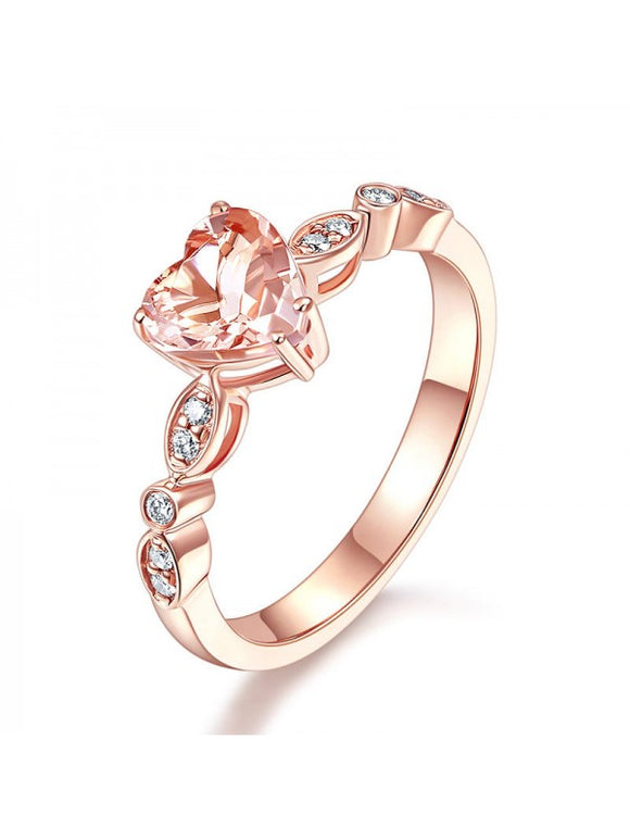 1.20ct Rose Gold, Heart Shaped Morganite Engagement Ring, Available in 14kt or 18kt Rose, Yellow or White Gold