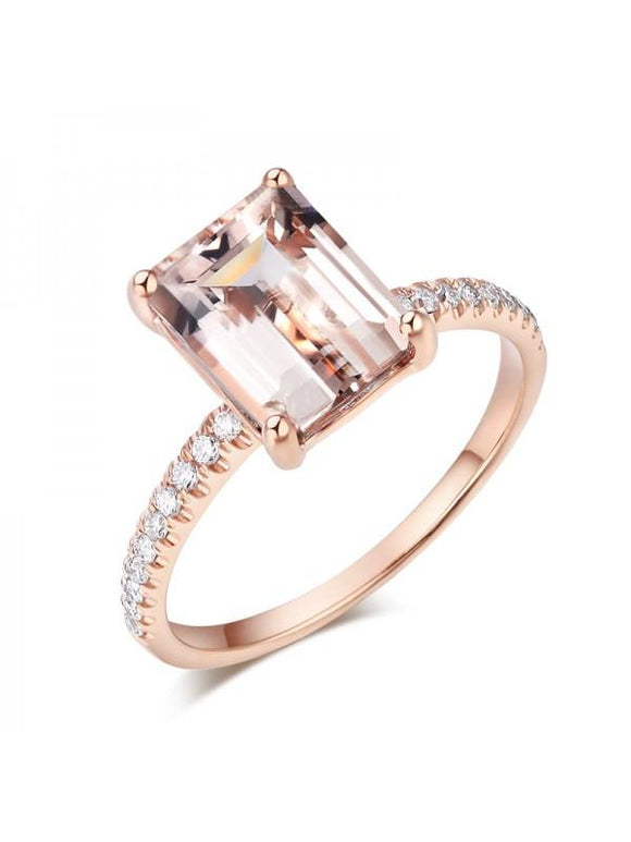 2.80ct Rose Gold, Emerald Cut Morganite Engagement Ring, Available in 14kt or 18kt Rose, Yellow or White Gold