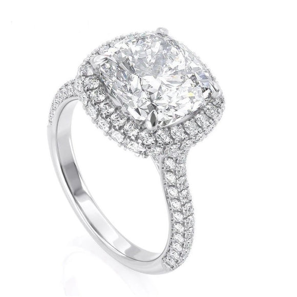 1.70ct Cushion Cut Moissanite Halo Engagement Ring, 14Kt 585 White Gold