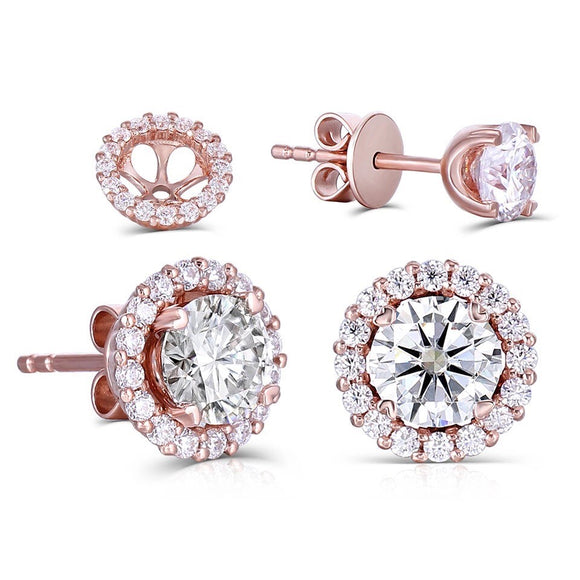 0.50ct each, Round Cut Moissanite Halo Earrings, 14Kt 585 Rose Gold