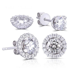 0.50ct each, Round Cut Moissanite Halo Earrings, 14Kt 585 White Gold