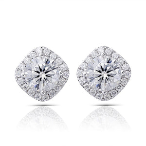 Round Cut Moissanite Halo Earrings, Art Deco Design, Choose Your Stone Size and Metal