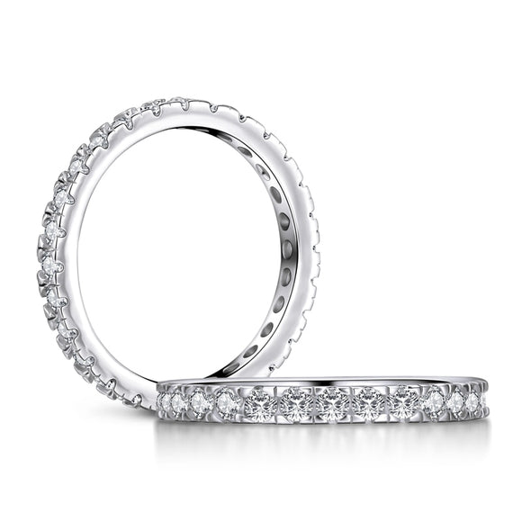 0.75ct Diamond Set Full Eternity Ring, 925 Sterling Silver