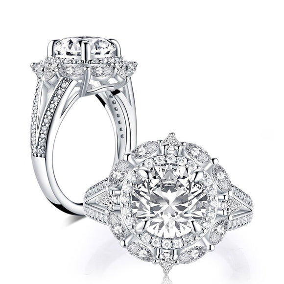2.65ct Round Cut Diamond Halo Vintage Engagement Ring, 925 Silver
