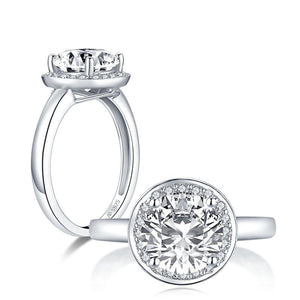 2.65ct Round Cut Diamond Halo Engagement Ring, 925 Silver