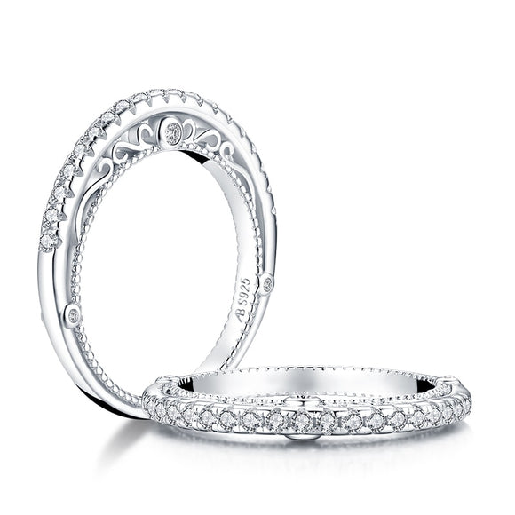 0.40ct Daimond Eternity Ring, Vintage Design, 925 Sterling Silver