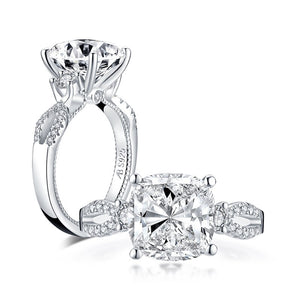 5.00ct Vintage Cushion Cut Diamond Engagement Ring, 925 Silver