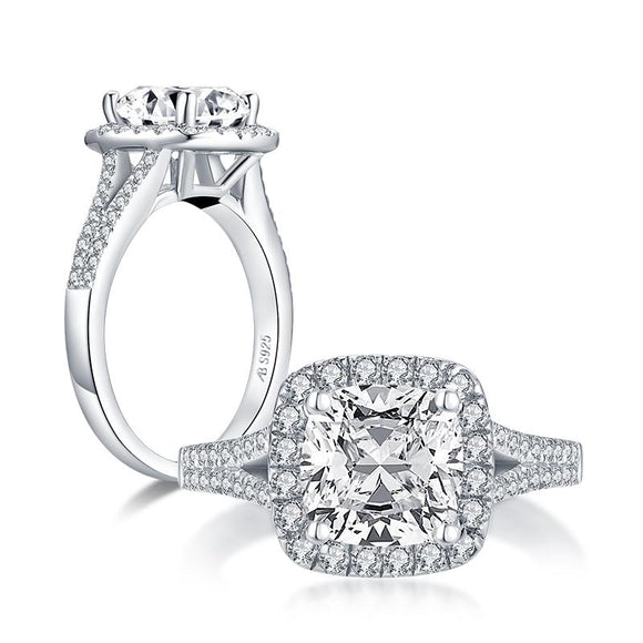 2.00ct Vintage Cushion Cut, Diamond Halo Engagement Ring, 925 Silver