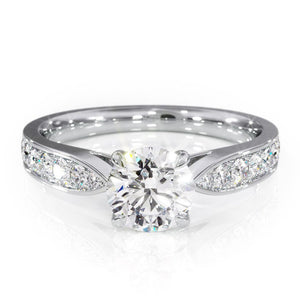 Lab-Diamond, Round Cut Engagement Ring, Choose Your Stone Size and Metal