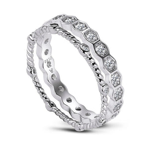 0.60ct Diamond Wedding Band, Full Eternity Ring, 925 Sterling Silver, x2 Ring Set