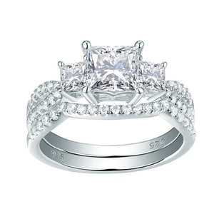 2.00ct Princess Cut Diamond Ring Set, 925 Sterling Silver
