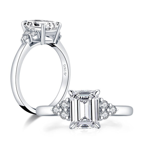 1.50ct Vintage Emerald Cut Diamond Engagement Ring, 925 Silver