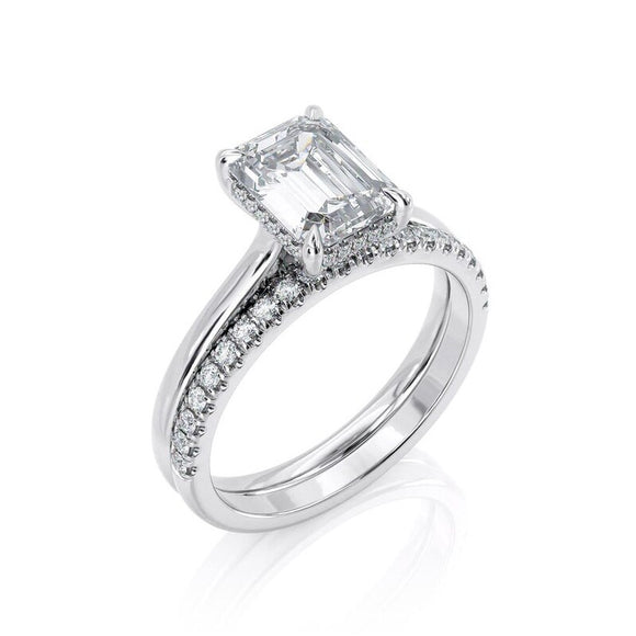 2.00ct Emerald Cut Moissanite Engagement Ring & Wedding Band Set, 14Kt 585 White Gold