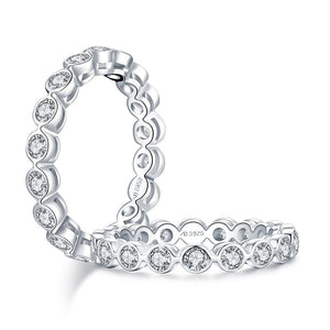 1.25ct Round Cut Diamond Wedding Band, Full Eternity Ring, 925 Sterling Silver