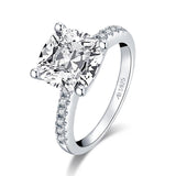 3.25ct Cushion Cut Diamond Engagement Ring, 925 Silver
