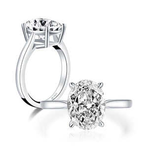 4.50ct Oval Cut, Classic Engagement Ring, 925 Silver