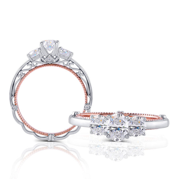 1.25ct Oval Cut Moissanite 3 Stone, Classic Vintage Engagement Ring, Available in White Gold or Platinum with Rose Gold Detailing