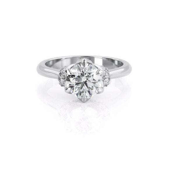 Lab-Diamond, Round Cut Engagement Ring, Vintage Design, Choose Your Stone Size and Metal