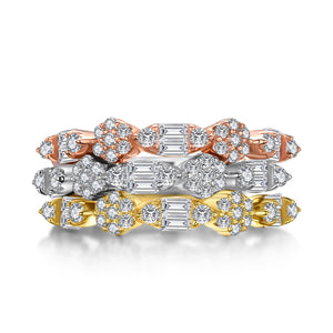 3 piece Eternity Band Set, Vintage Design Half Eternity Rings, 925 Sterling Silver