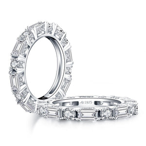 1.50ct Diamond Wedding Band, Full Eternity Ring, Different Shaped Diamonds, 925 Sterling Silver