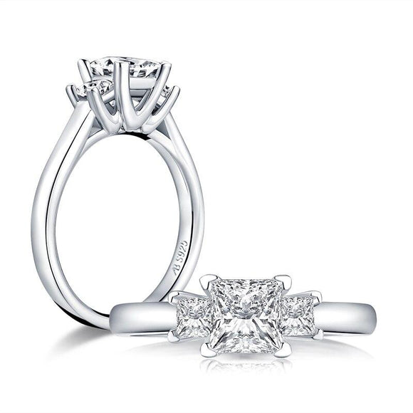 1.00ct Princess Cut Diamond 3 Stone Engagement Ring, 925 Silver