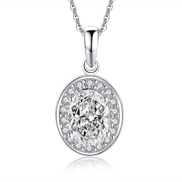 1.25ct Bridal Oval Diamond Halo Pendant, Bridal Halo Diamond Necklace, 925 Silver